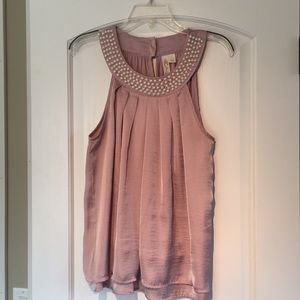 Silky blush top with faux pearls